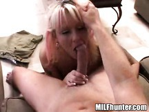 Payton the blonde milf giving this guy a amazing blowjob/deepthroat on the couch