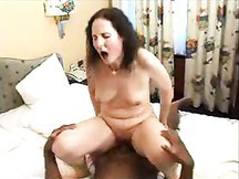 Pale Amateur MILF Rides The Cock of A Hung Black Man