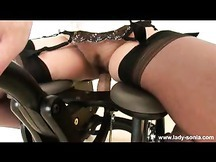 Lady Sonia babe has hot pussy torture with fuck machine